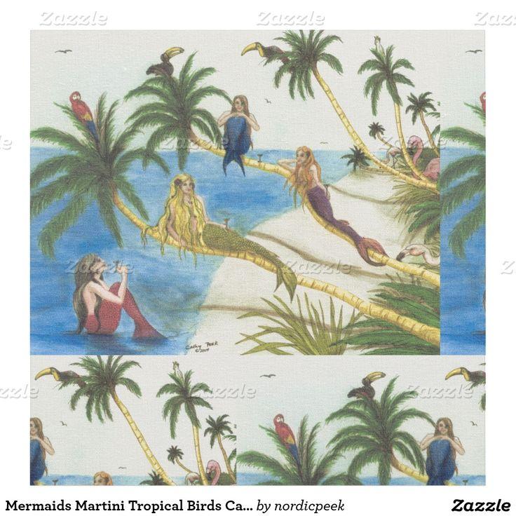 Mermaids Martini Tropical Birds Cathy Peek Art Fabric