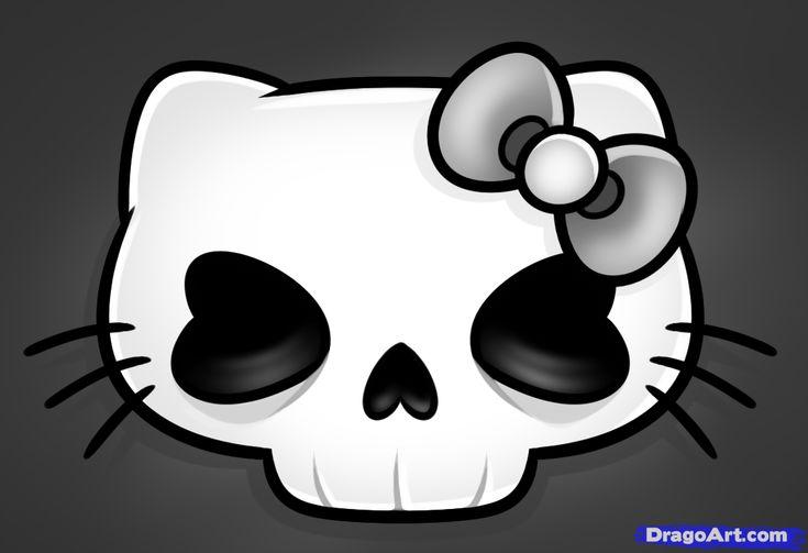 how to draw a hello kitty skull, hello kitty skull