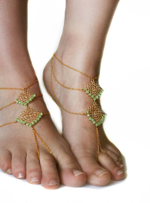 #Boho chic, sexy, baredoof sandals with brass chain and #handmade wire #crochet pendants with light green crystals.   These sandals are great to wear barefoot or with your san... #jewelry #etsy #epiconetsy #shopping #shopsmall #jewelryonetsy #etsyseller #anklet