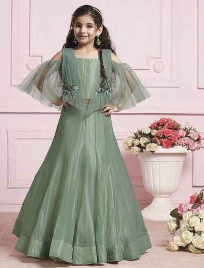76e9cb17d32b1 Green tissue silk fabric gown | kavya in 2019 | Gowns for girls ...