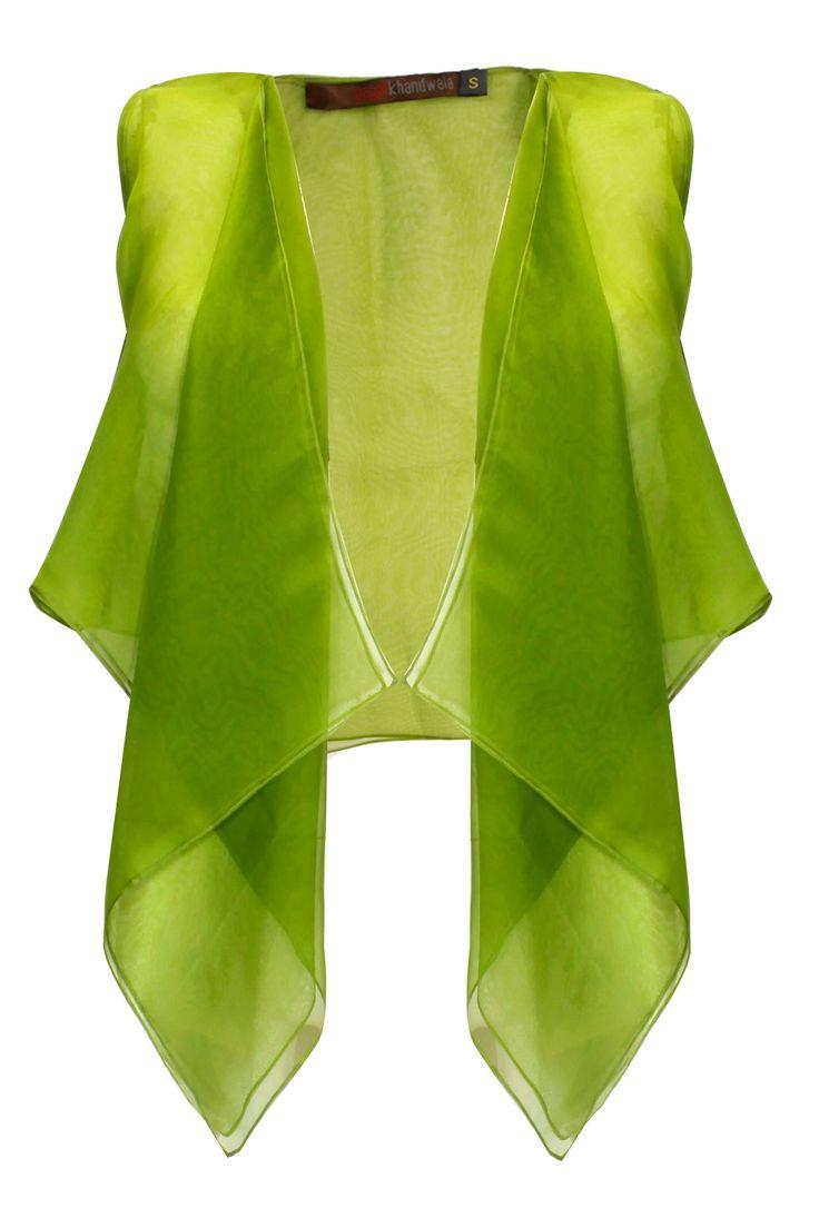 Mehendi asymmetrical vida jacket available only at Pernia's Pop Up Shop.