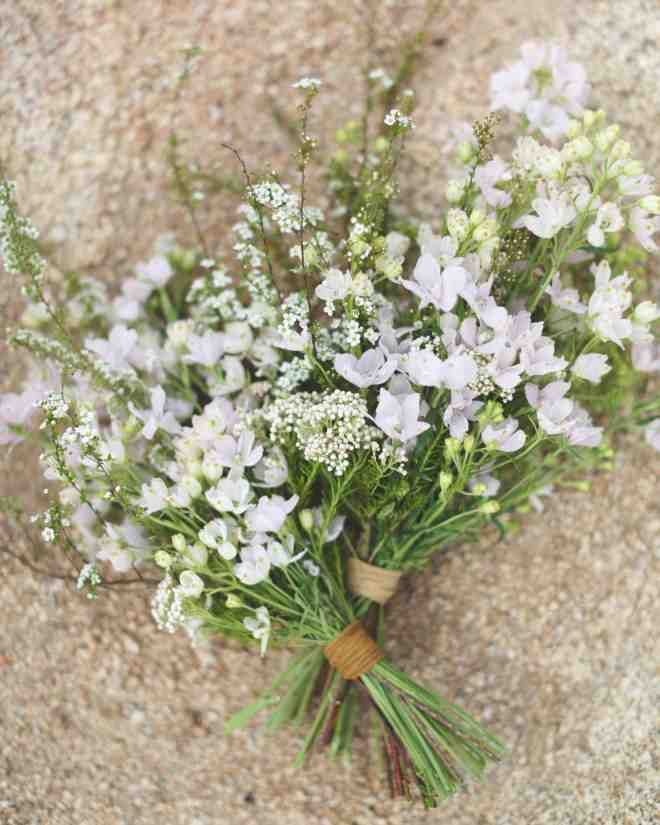 The bridesmaids at this desert wedding carried petite bouquets of larkspur and delphinium tied with leather cording.