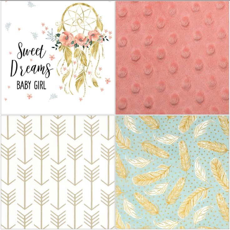 Baby Girl Crib Bedding - Dream Catcher, Feathers, White Gold Arrow, and Coral Minky Crib Bedding Ensemble by DesignsbyChristyS on Etsy https://www.etsy.com/listing/488678898/baby-girl-crib-bedding-dream-catcher