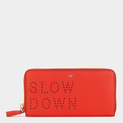 Slow Down Large Zip-Around Wallet