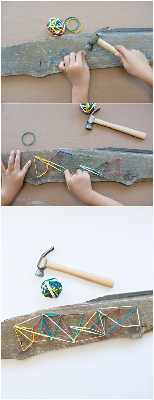 Easy DIY Wooden Geoboard for kids. Great open-ended STEM project for kids and practicing fine motor skills.