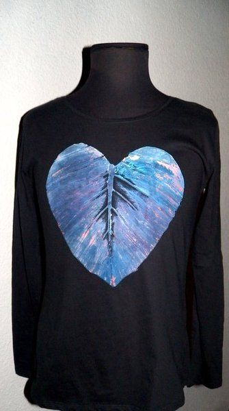 Woman's Tshirt  Hand Painted Long sleeve Heart III from PaperArcsArt by DaWanda.com