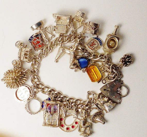 Vintage Sterling Silver Charm Bracelet / Old Mother Hubbard Opening Cupboard / Nuvo Charms
