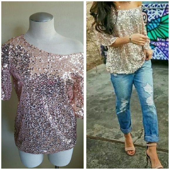 Sequin blouse Rose Gold sequins blouse Tops Blouses