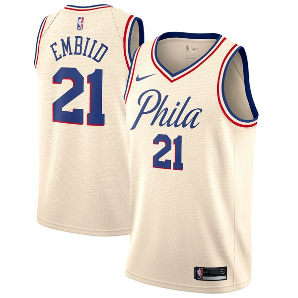 pretty nice dc4c3 cd97e Men's Philadelphia 76ers Joel Embiid Nike Cream Swingman ...