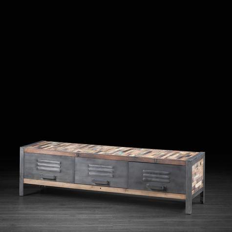 Meuble télévision avec 3 tiroirs style casier en bois recyclé de vieux bateaux