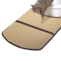 WooPet! Cat Litter Mat Large Beige 24 x 22, Scatter Control Kitty Litter Mats for Cats Tracking Litter Out of Litter Box