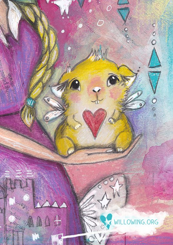 Guinea Pig Girl Art Print by willowing on Etsy