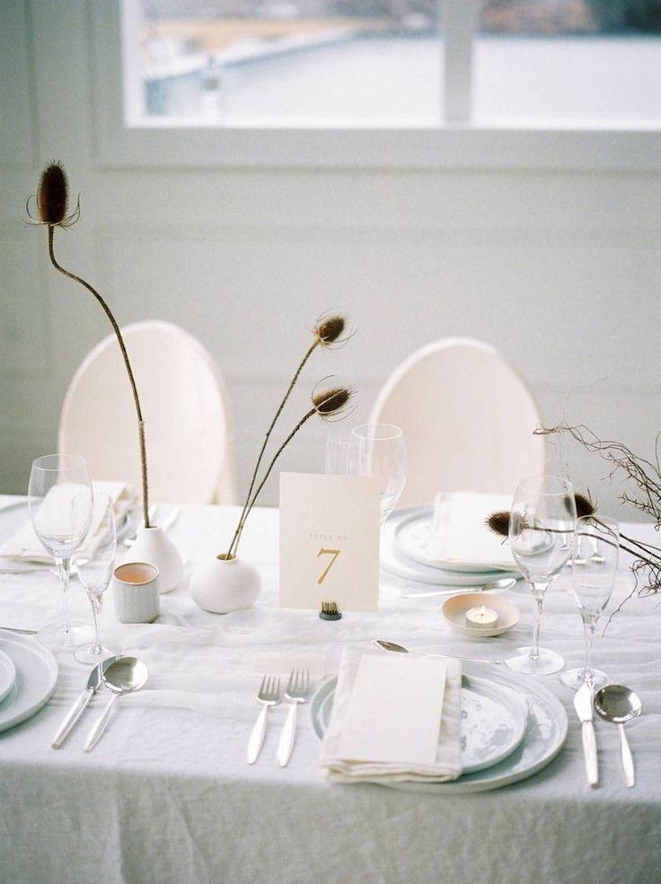Minimal White And Modern Table Setting Wedding Table Centerpieces Wedding Table White Winter Wedding