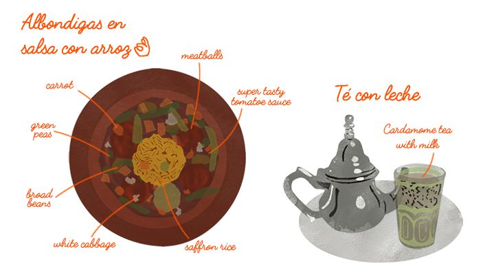 #spanish #andalusia #andalusian #grenada #albondingas #salsa #food #typical #tea #cardamom #illustration