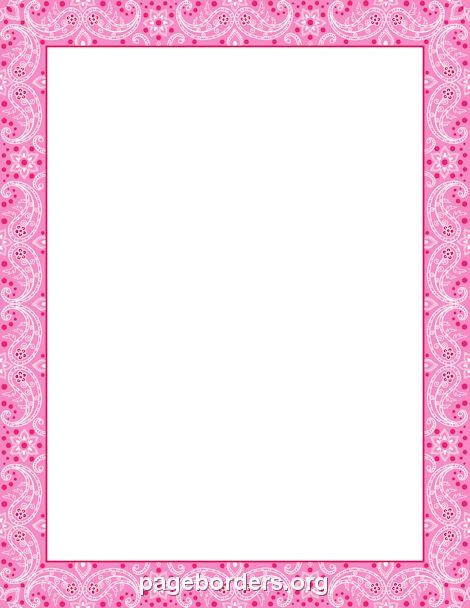 Printable pink bandana border. Use the border in Microsoft ...