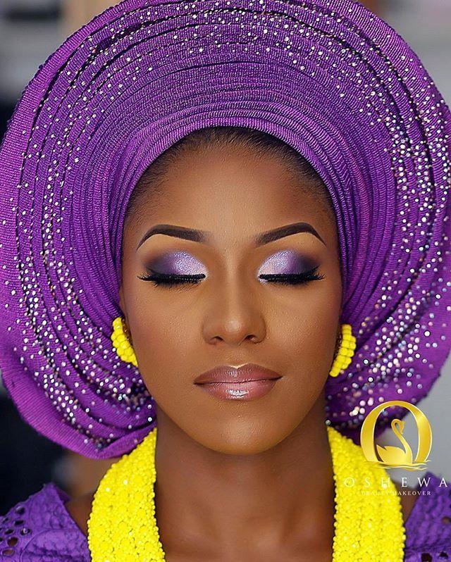 Brides, wedding, nigerian, make-up, eyeshadow, Yes pls! You can't go wrong with Purple + Yellow @Oshewabeauty is on the facebeat ~ Aso-Oke @Ceomaniaalasooke ~ Beads @Rochem_Iyaileke #WeddingDigest #WeddingDigestNaija
