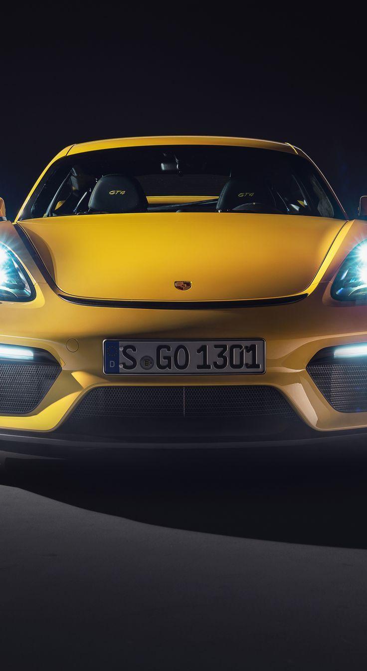 Awesome Wallpaper 1440 2630 Porsche 718 Cayman Gt4 Glow Headlights Yellow Car Wallpaper Porsche 718 Cayman Yellow Car Cayman Gt4