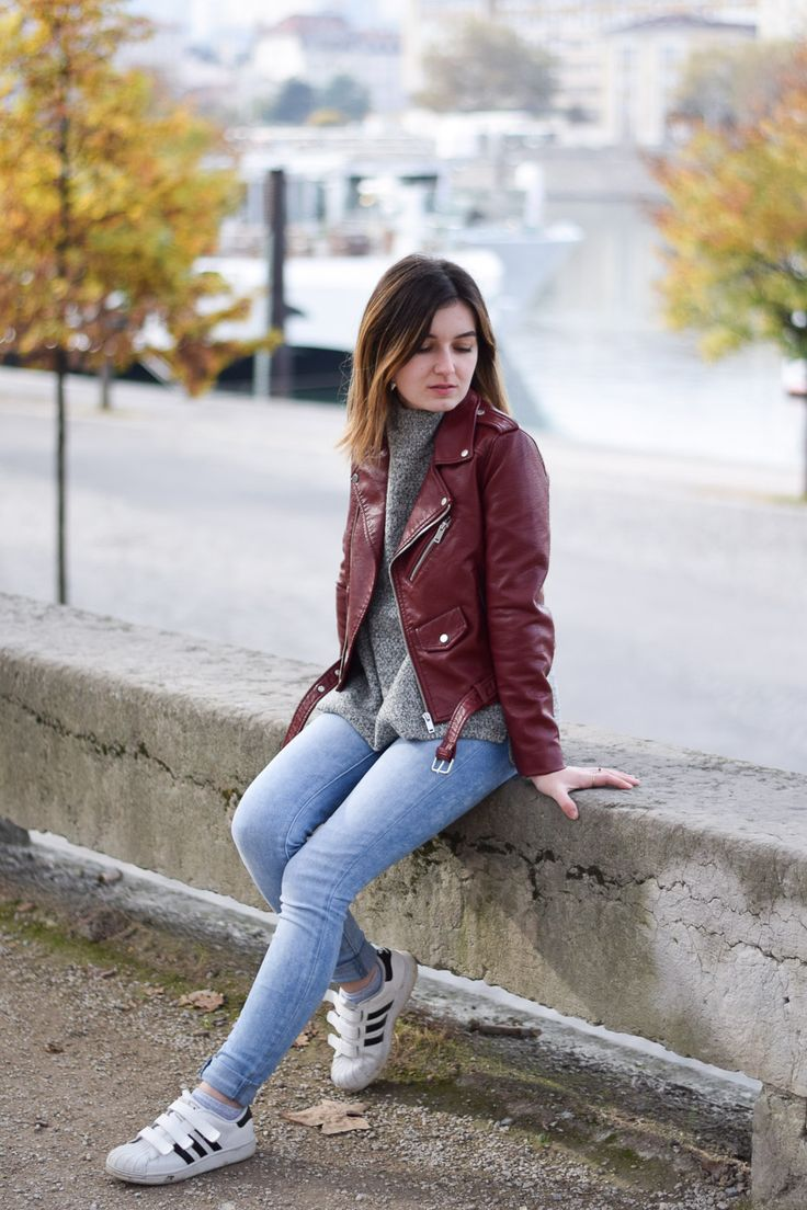 red rouge perfecto zara grey sweat adidas superstar lyon mode outfit fall