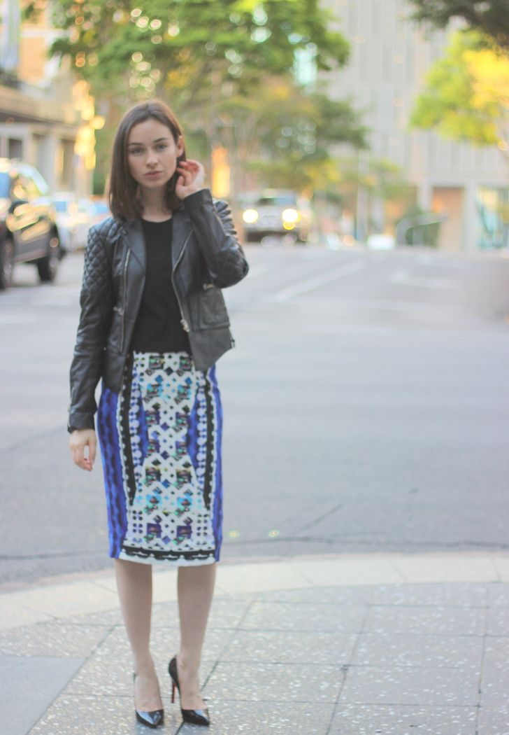 BALENCIAGA QUILTED LEATHER JACKET, BASSIKE T-SHIRT, Peter Pilotto skirt, CHRISTIAN LOUBOUTIN PIGALLE PUMPS