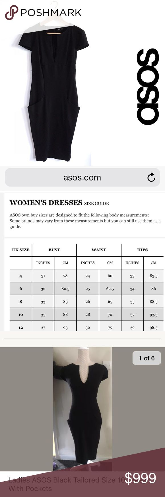 """*Additional Information* Additional Information for ASOS Fitted Ponte Dress.  This dress is labeled a US Size 10. All photos are of the garment for sale. The tag says UK14/US10 (photo #2). Measurements from the actual garment were included in the original listing description (photo #3).  ASOS Dress Size Chart (photo #4) indicates the waist dimensions are identical to what is listed for the garment that was sold; 28"""" around = 14"""" flat.  The last photo is from an EBay listing selling the same…"""