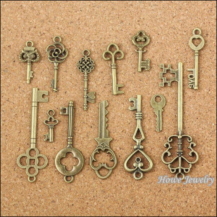 Mix 39 шт. старинные подвески key античная бронзовая сплава цинка Fit браслет ожерелье DIY металлические ювелирных изделий 10011 купить на AliExpress