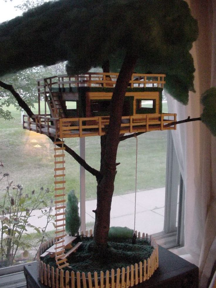 Popsicle stick tree house crafts pinterest for How to build a treehouse with sticks