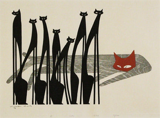 'Eyes' (1976) by Japanese artist & printmaker Kiyoshi Saito (1907-1997). Color woodcut, edition of 100, 38 x 52 cm.