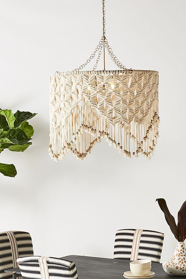 Boho Decor Handmade Chandelier Macrame Lampshade Cotton Weaving Homestay Decoration Jewelry Ornaments Tapestry Wall Hanging