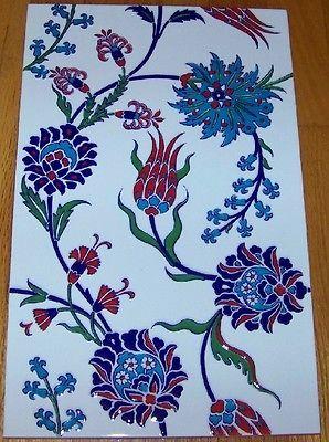 "Iznik Carnation & Floral Pattern 9 7/8"" x 15 3/4"" Raised Turkish Ceramic Tile"