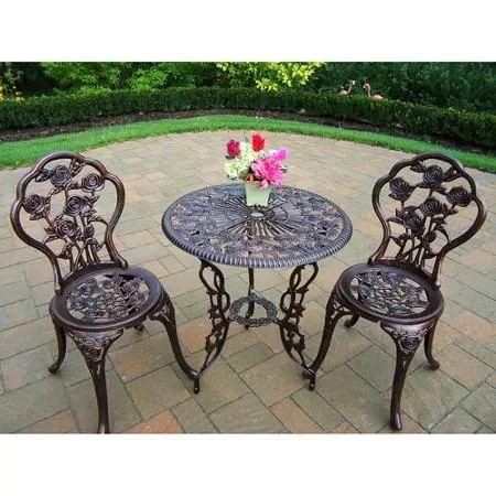 Elegant Rose 3 Piece Bistro Patio Set