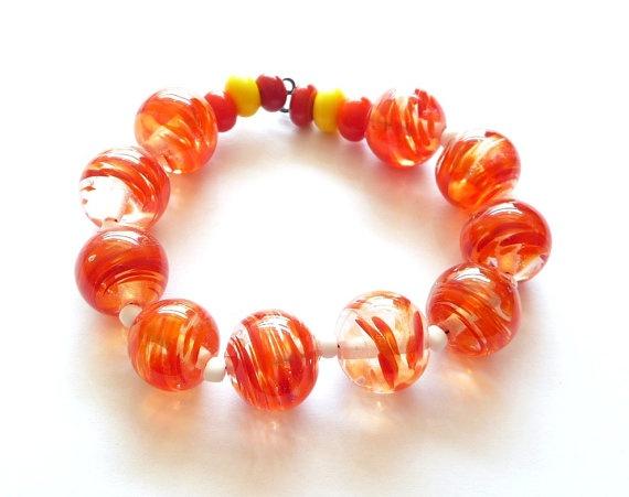 Fancy orange swirls / lampwork beads / SRA by Beadsagogo on Etsy, $15.00