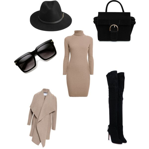 A fashion look from November 2015 featuring brown ribbed turtleneck, shawl collar wool coat ve suede heel boots. Browse and shop related looks.