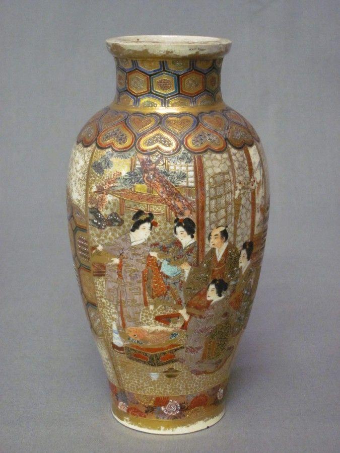 Japanese Antique Satsuma Vase Signed Ryozan Japaneseiji Vases
