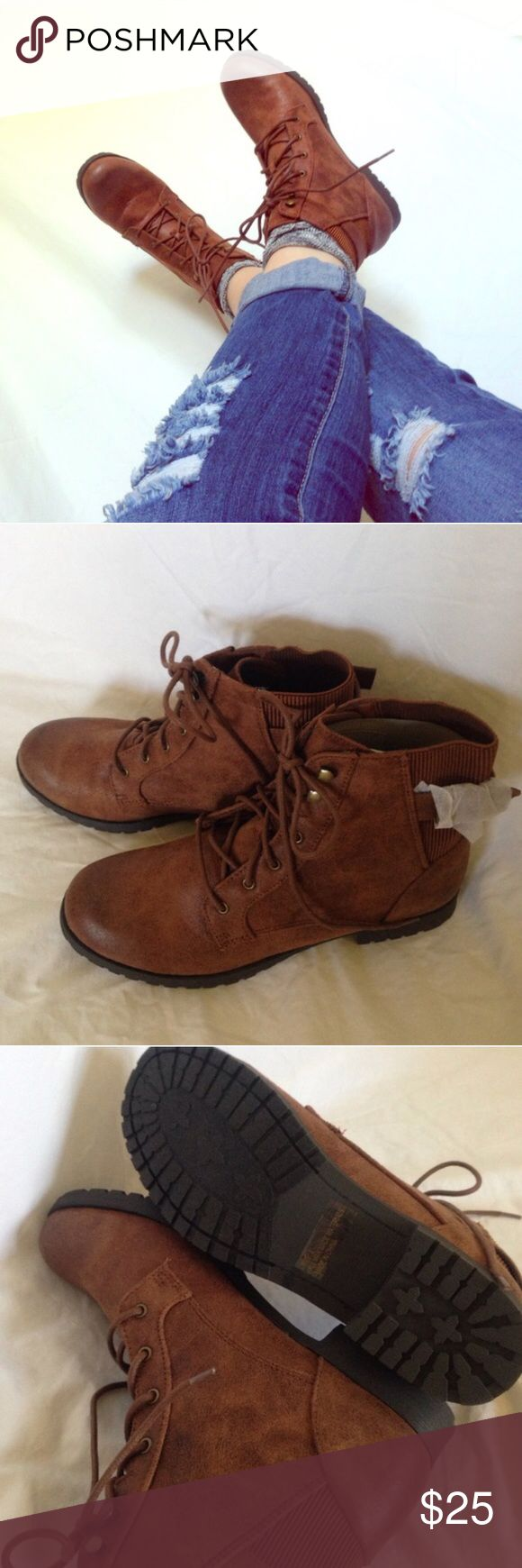 Ankle Combat Boots NWT in original box. Brown with gold accents. Stylish and comfortable boots to compliment any outfit! Charlotte Russe Shoes Combat & Moto Boots