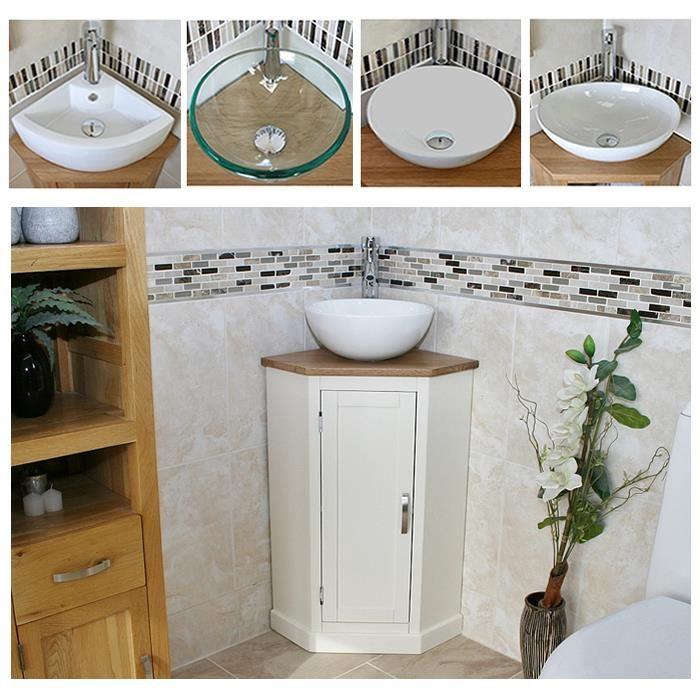 Useful for storing loo roll etc.     Cloakroom-Corner-Bathroom-Vanity-unit-Oak-Top-Painted-Cabinet-inc-Ceramic-Basin