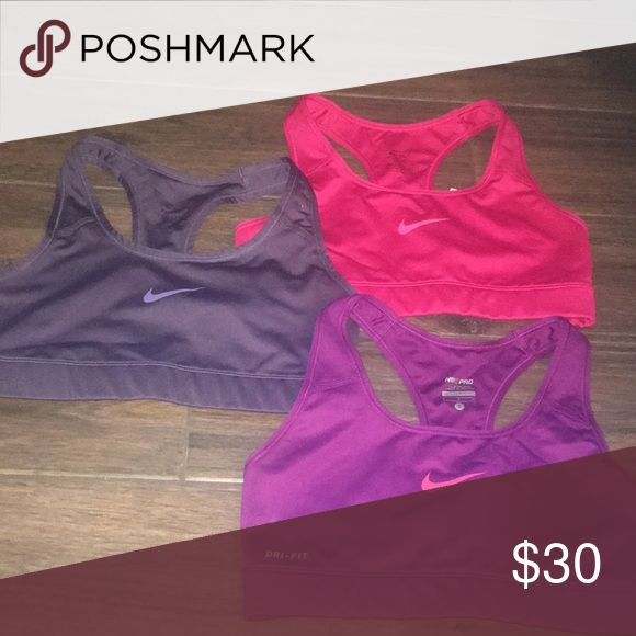 Nike Sports bras Worn once, perfect condition! All 3 are size small. $30 for 3 or $12 for 1! Nike Intimates & Sleepwear Bras