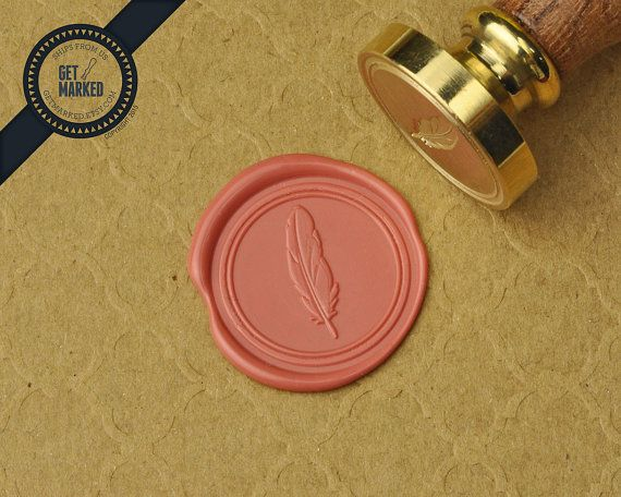 Feather  Wax Seal Stamp by Get Marked WS0346 by GetMarked on Etsy