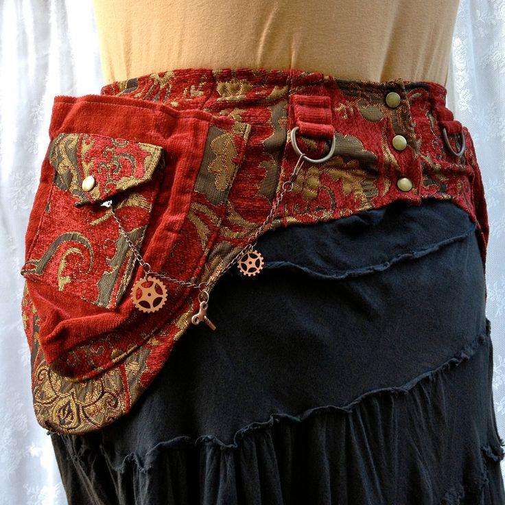 Fancy utility belt - steampunk pocket belt - red tapestry festival pockets - size Small.