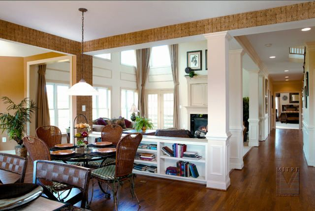 Built in wall divider carpentry pinterest room dividers bookcases and breakfast nooks - Half wall room divider ideas ...