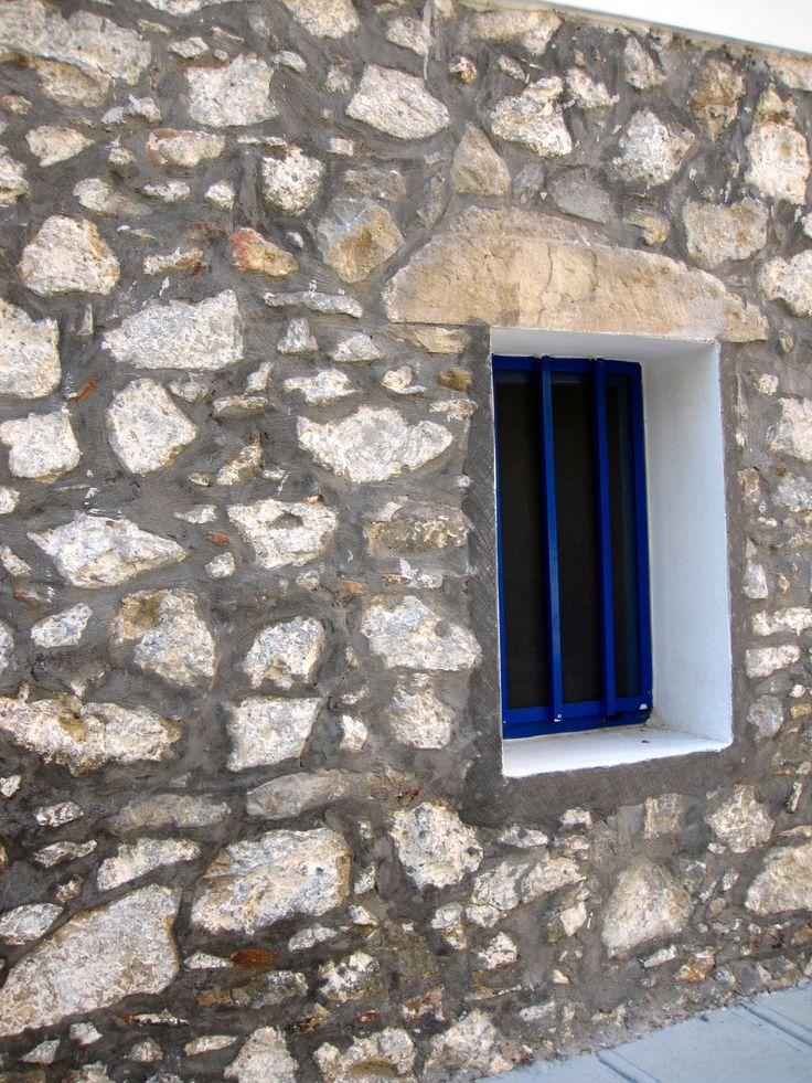 Wall - Blue window - Kos - Greece