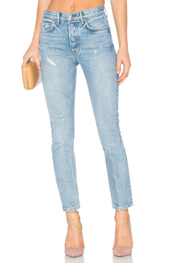 Blue chewed hem super skinny Amelie jeans | The Trendy Trousers ...