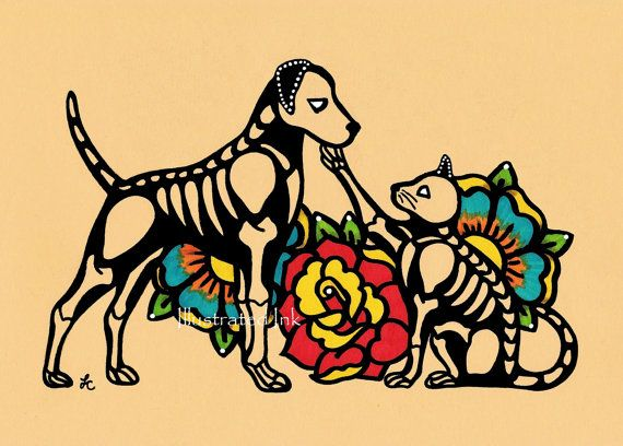 Dia de los Muertos DOG and CAT Day of the Dead Art Print 5 x