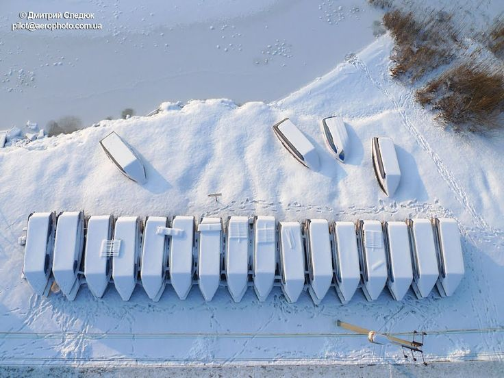 Аэрофотосъемка Харькова. Зимняя стоянка лодок