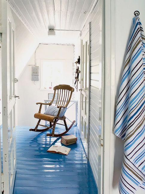 Glossy blue painted floors