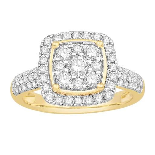 9ct Yellow Gold Diamond Halo Cluster Ring