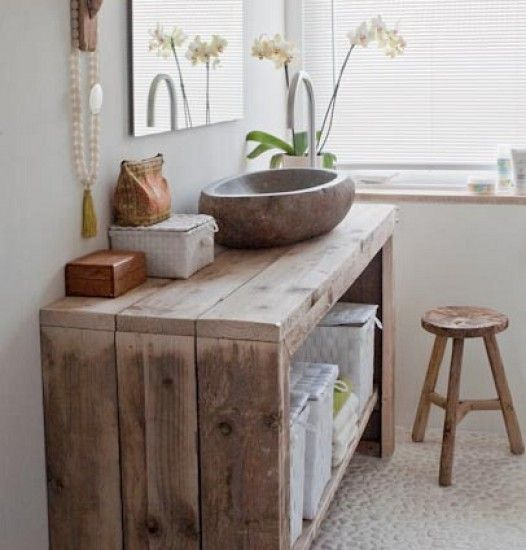 ♥ Wood and texture in the bathroom. The organic-shaped sink is perfectly at home here.