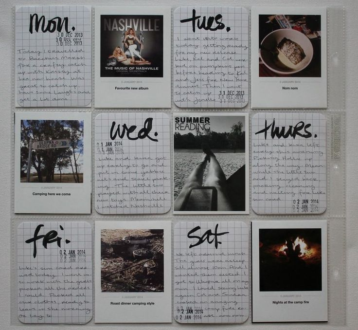 Week 1 page 1 project life 2014.  Like the dailies handwritten and the overall CAS feel.