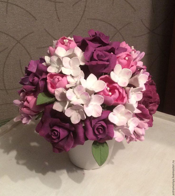 Купить Букет из полимерной глины фиолетовые розы - фиолетовый, розовый, бордовый цвет, розы, гортензия