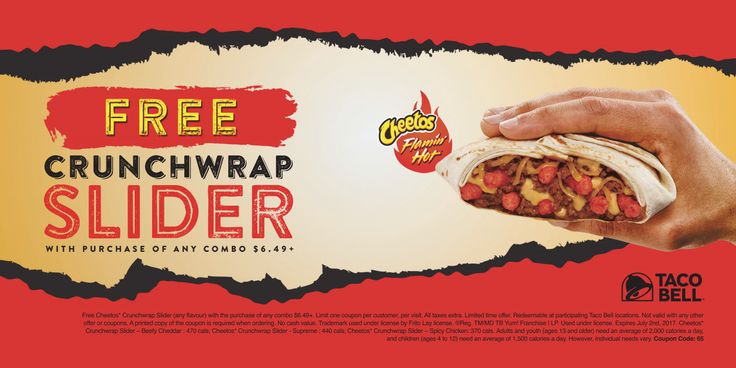 Taco Bell Canada Coupons: FREE Crunchwrap Slider with Purchase of Any Combo $6.49 or More http://www.lavahotdeals.com/ca/cheap/taco-bell-canada-coupons-free-crunchwrap-slider-purchase/196389?utm_source=pinterest&utm_medium=rss&utm_campaign=at_lavahotdeals