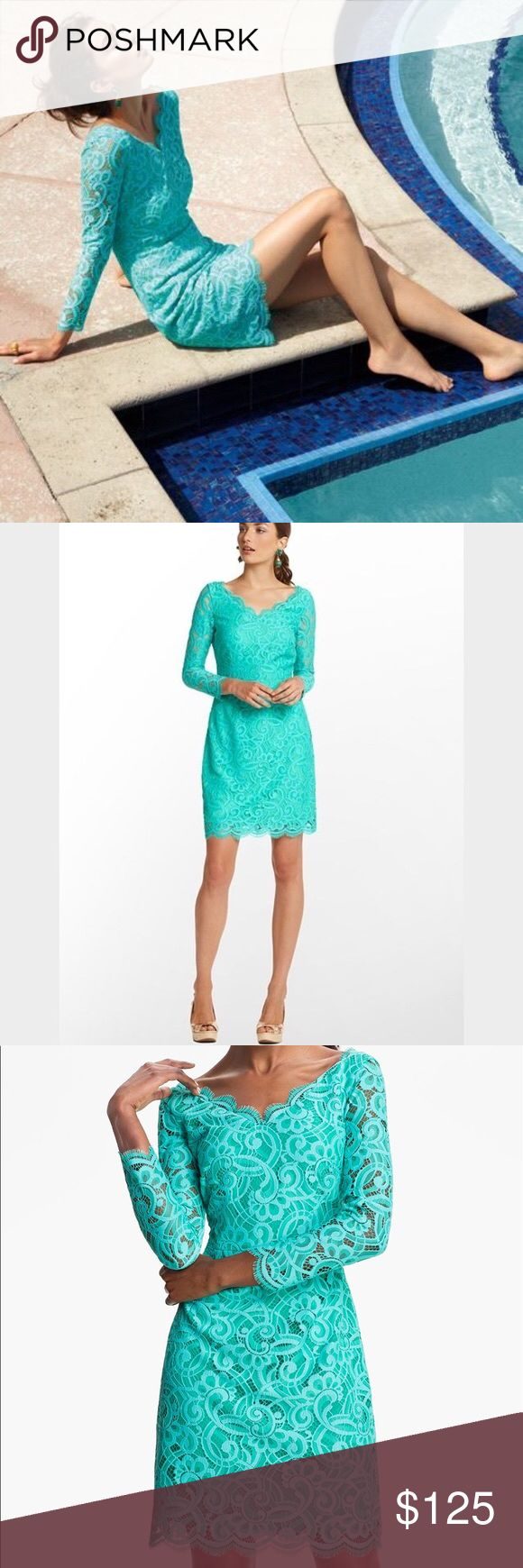 Lilly Pulitzer Helene Lagoon Green Lace Dress Lilly Pulitzer Helene Lagoon Green About Face Lace Dress. Turquoise Blue-Green. Worn once. Please let me know if you have any questions. Lilly Pulitzer Dresses Mini